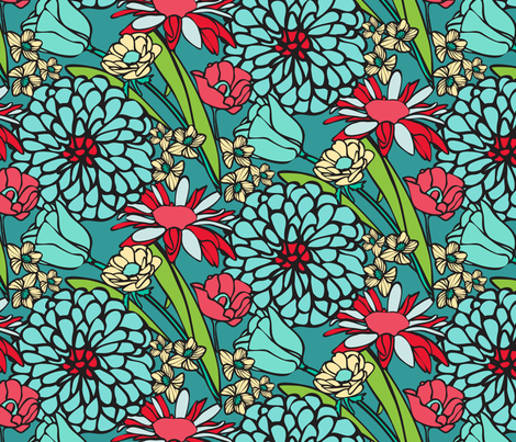 Mod Floral Jumbo Blue & Red colors fabric by lauriekentdesigns on Spoonflower - custom fabric