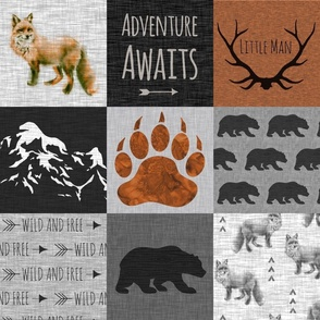 Adventure Awaits - Fox And Bear Little Man - Rust, Black, grey