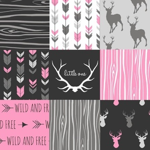 Wholecloth Patchwork Deer - hot pink and charcoal black