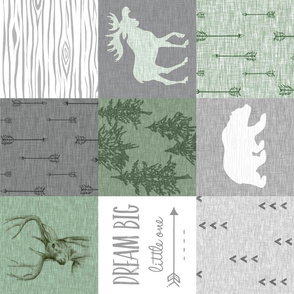 Dream Big w/ moose, bear, Buck - green and grey - Rotated