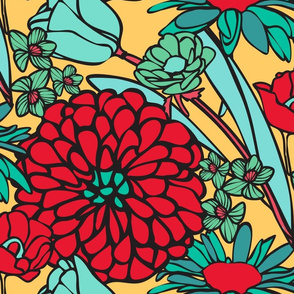 Mod Floral Jumbo Yellow & Red colors