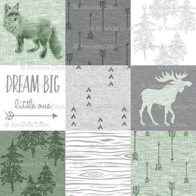 Dream Big - fox and moose - green, grey, white