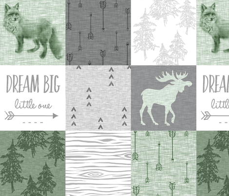 Dream Big - fox and moose - green, grey, white fabric by sugarpinedesign on Spoonflower - custom fabric