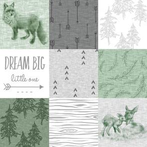 Dream Big - fox quilt - green, grey, white