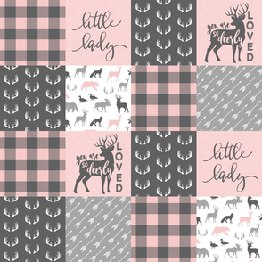 You are so deerly loved / little lady - pink and grey plaid - woodland patchwork C18BS