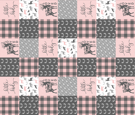 You are so deerly loved / little lady - pink and grey plaid - woodland patchwork (90) C18BS fabric by littlearrowdesign on Spoonflower - custom fabric