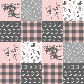 You are so deerly loved / little lady - pink and grey plaid - woodland patchwork (90) C18BS