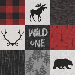 Wild one with plaid - red and black - moose, bear, antlers