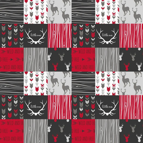 "3"" Wholecloth Patchwork Deer - Red, charcoal, grey"