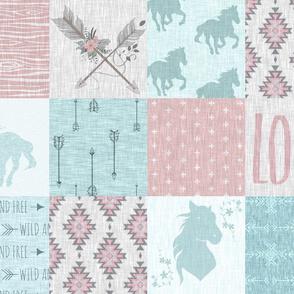 BoHo Horse Quilt - Aqua And Pink