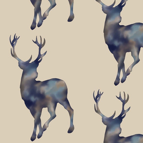 "14"" painted deer - mottled Navy on tan"