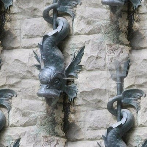 XL Old-World Fish Fountain | Seamless Large-Scale Architectural Photo Print
