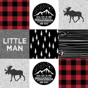 Little Man & Love You To the Mountains Quilt Top - buffalo plaid