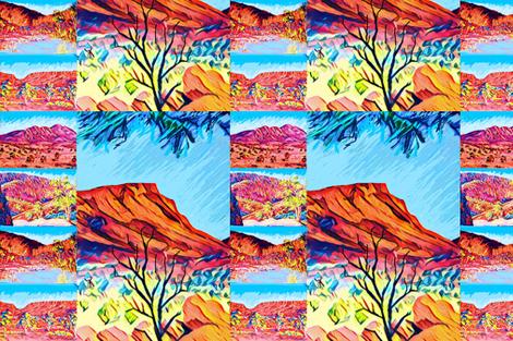 CntrlAustralian.Mt Gillen featured. fabric by centralaustralian_wildflowerart on Spoonflower - custom fabric