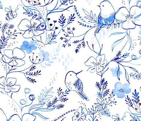 birds + bees - © Lucinda Wei fabric by lucindawei on Spoonflower - custom fabric