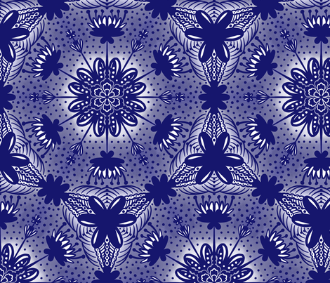 Indigo Flowers Chinoiserie fabric by jamiejaques on Spoonflower - custom fabric
