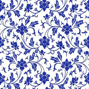 Classic Chinese Flower Pattern Blue White