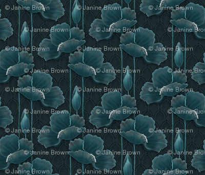 Art Deco Poppies TEAL
