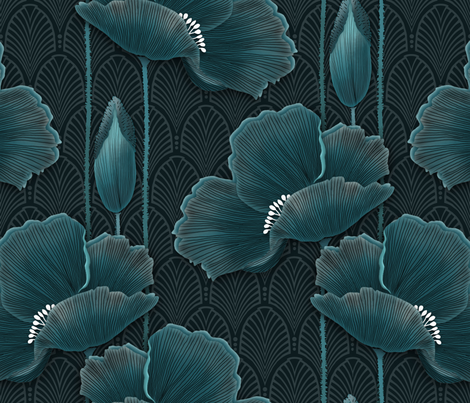 Art Deco Poppies TEAL fabric by j9design on Spoonflower - custom fabric