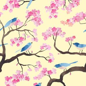 cherry blossom birds emperor yellow