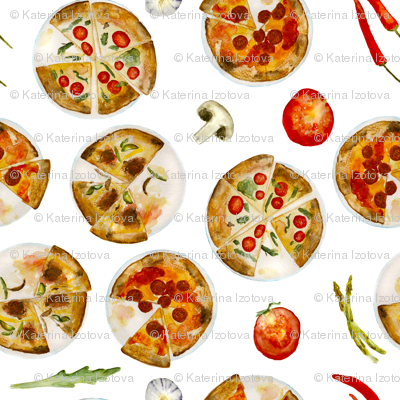 Italian pizza || watercolor pattern