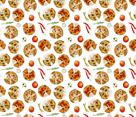 Italian pizza || watercolor pattern fabric by katerinaizotova on Spoonflower - custom fabric