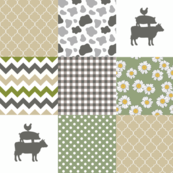 Farm - Wholecloth Cheater Quilt - Daisy Cow, Sage, Tan Grey Gray -FRM1