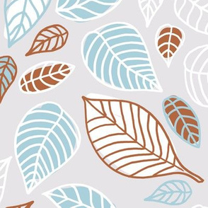 Sweet fall leaves woodland print autumn blue and copper JUMBO
