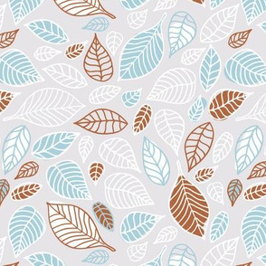 Sweet fall leaves woodland print autumn blue and copper Medium