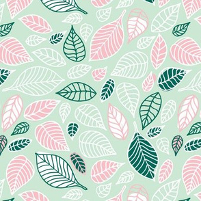 Sweet fall leaves woodland print autumn pink and green Medium