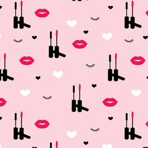 Beauty and make-up love lips and lashes flirt design hot pink valentine