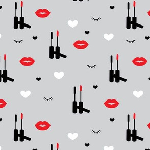 Beauty and make-up love lips and lashes flirt design gray red valentine