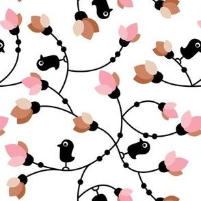 Cute little black birds and flowers cute garden design pink copper
