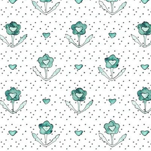 Emerald vintage flowers with polka dots