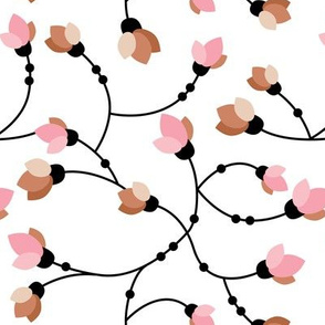 Sweet flowers and cherry blossom autumn floral pink copper