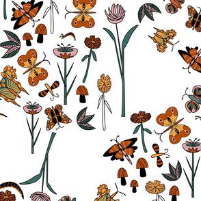 Geometric butterflies in garden white