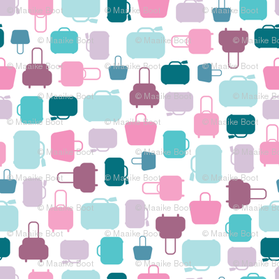 We love to travel the world abstract colorful suitcase bags and luggage design girls