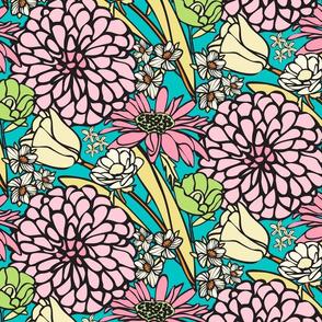 Mod Pop Pink & Blue Jumbo Floral