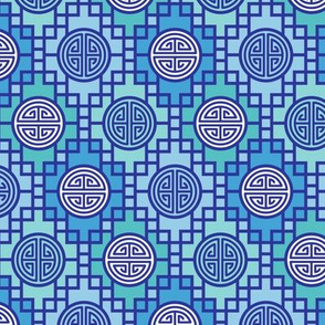 Chinese geometrics Blue/Teal