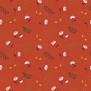Linen meadow floral rust