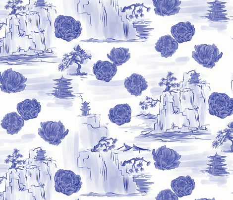 Pagodas and Peonies fabric by ttl_kirsten on Spoonflower - custom fabric