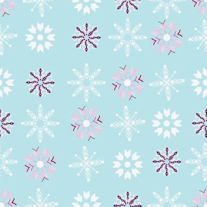 Pink, purple and white snowflakes