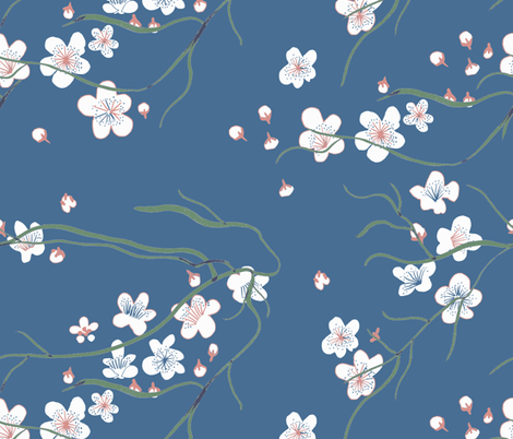 chinoiserie cherry blossom fabric by claireybean on Spoonflower - custom fabric
