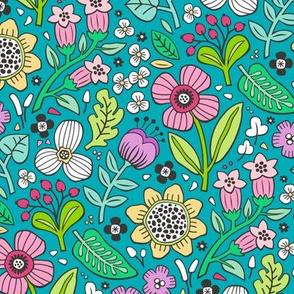 Garden Florals on Blue