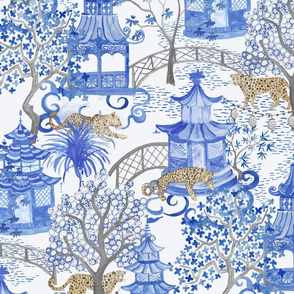 Leopards in the Pagoda Forest- Natural and Blue