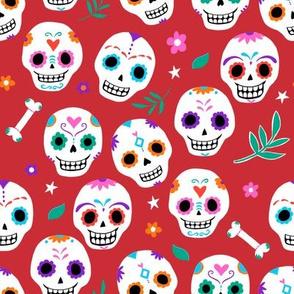Sugar Skulls in Red