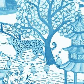 Leopard Pagoda Scenic Toile