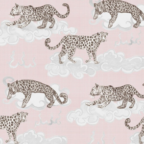 Leopard Clouds tan on pale pink