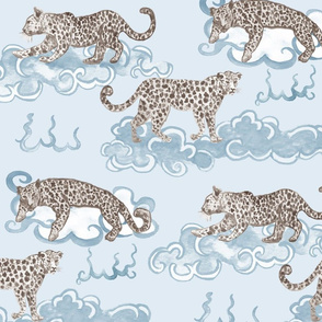 Leopard Clouds tan on aqua