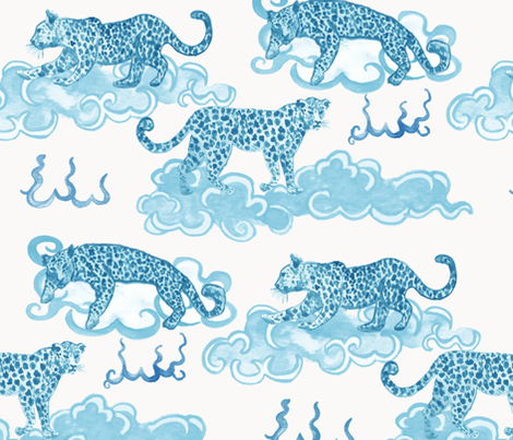 Leopard Clouds aqua fabric by danika_herrick on Spoonflower - custom fabric